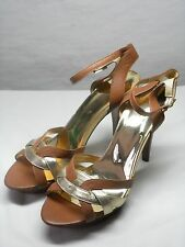Women's MICHAEL KORS Brown Leather High Heel Open Toe Strappy Pumps Size 9 M