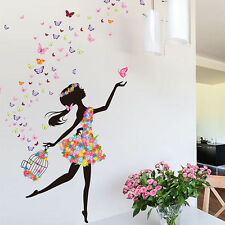 Girl Butterfly Large Removable Mural Wall Sticker Art Decal Living Bed room Deco