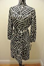 NWT.Ladies' tahari black/ivory(lists at paper tag)waist strip/lined body dress;8