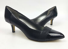 Anne Klein shoes 7.5 M black leather pointed toe pumps lizard band Natka