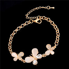 Alluring Crystal Opal Butterfly 18K Gold Plated Bracelet Bangle For Lady Girl