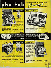 1952 PAPER AD Pho Tak Foldex Camera Rollex Traveler Eagle Eye Cub Photographer