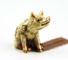 JAY STRONGWATER MARIE MINI PIG FIGURINE 18K GOLD PLATED SWAROVSKI NEW ORGNL BOX