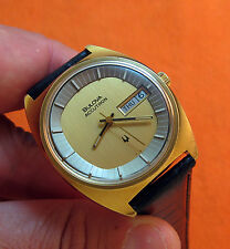 RARE SERVICED VINTAGE 218 TV ACCUTRON GOLD PLATE TUNING FORK MENS WATCH N3