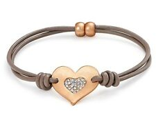 Matte Rose Gold Crystal Encrusted Heart Charm Leather Bracelet