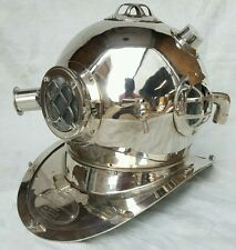 ANTIQUE U S NAVY MARK V SOLID BRASS DIVING DIVERS HELMET QUALITY NICKEL FINISH