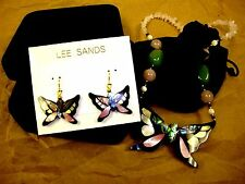 QVC LEE SANDS HAWAII INLAID MOTHER OF PEARL BUTTERFLY NECKLACE EARRINGS SET NEW!