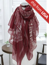 Woman Red Reindeer Stole Soft Cotton Voile Scarf Wrap long shawl Christmas Gift