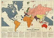 Carte antique Gomberg 1942 POSTE GUERRE nouvel ordre mondial réplique Poster Print pam0906