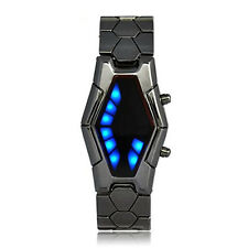 Futuristic Japanese Style Blue LED Watch with dark metal strap ED