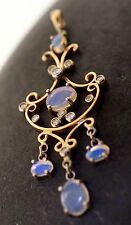 Opal Pendant Diamonds 14k Yellow Gold Lavalier Antique Style Natural Jelly Opal