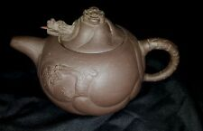 Chinese Terracotta Yixing Dragon Teapot with Mocevable Metal Tongue