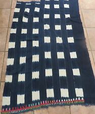 Vintage Mali, Dogon Stitch Dyed Indigo/Hand Woven Cotton Strips/Embroidered End