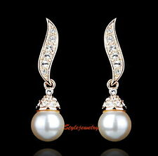 Rose Gold Plated Clear Swarovski Crystal White Pearl Dangle Bridal Earring XE119