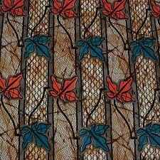 African Autumn Leaves Batik Print Fabric new BY 1/2 YD fancy wax ethnic p423