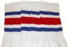 "10"" KIDS WHITE tube socks with ROYAL BLUE/RED stripes style 3 (10-10)"