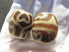 "2 ESTATE OLD TIBETAN "" BOHHDI , TIGER TEETH "" AMULET DZI BEAD."