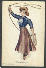 1908 PPC* Western Girl W/Lasso Ready To Rope You Mint