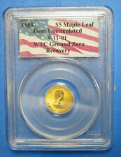 1985 WTC 911 Ground Zero $5 Maple Leaf 1/10 Oz Gold Coin Certified PCGS GEM UNC
