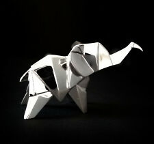Elephant Nomi Hallmarked Sterling Silver Rhodium Plated Wildlife Origami [4000S]