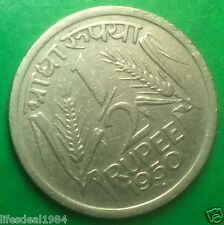 Rare 1950 1/2 Half Rupee ( 50 paisa )  Republic India Coin