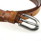 Fashion Genuine Leather Printing Thin All-match Pin Buckle Belt for Women