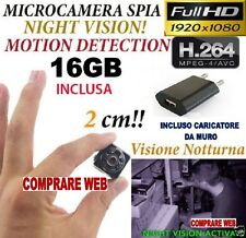 MICROSPIA SQ8 Camera Spia FULL HD MOTION DETECTION TELECAMERA NASCOSTA + SD 16GB