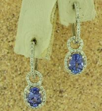 14k Solid White Gold Natural Diamond & AAAA  Tanzanite Earring 2.63 ct dangling