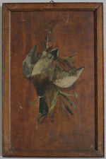 Original 1896 oil on wood, duck, game by M. BERTSCH, signed