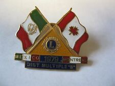 Lions Club Pin Mexico 1979 Montreal Flags Dist. Multiple B Lion Collectible Pins