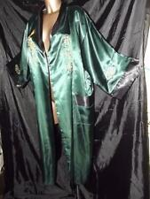 NEW GREEN/BLACK CHINESE REVERSABLE PEIGNOIR ROBE SILKY POLYESTER SIZE ONE SIZE