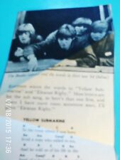 """Beatles Mem.:Pic of Beatles with Words and Notes to """"The Yellow Sub"""" PLUS Eleaor"""