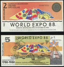Australia World EXPO`1988 2 banknotes - 2 and 5 $ UNC