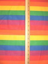 """BRIGHT RAINBOW EASTER STRIPES COTTON FABRIC SESAME PRIDE 6 COLOR 1/2 YD X 46"""""""