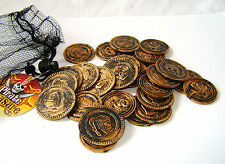 NEW 30 GOLD COINS PIRATE TREASURE FUN PARTY BAG TOY PLAY MONEY IN NET BAG. PW
