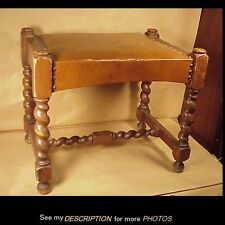 Antique 1902-20 Oak Barley Twist Leg Bench / Stool W. H. Gunlocke Co Waylands NY