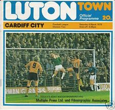 LUTON TOWN  V  CARDIFF CITY   2ND DIVISION   4/3/78