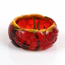 1940's END OF DAY RED CARVED FLORAL BAKELITE LRG BANGLE BRACELET RARE