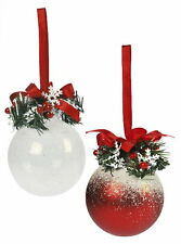 Red and White Frosty Christmas Tree Decorations set of 2   60830 NEW  19644
