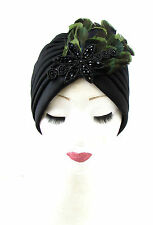 Black Green Feather Turban Headpiece 1940s Vintage Cloche 1920s Flapper 30s 913