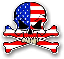SKULL & CROSSBONES Design & American Stars & Stripes US Flag car sticker decal