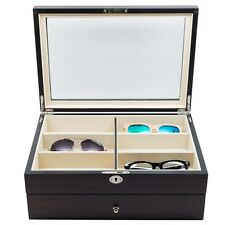 12 EBONY WOOD DRAWER EYEGLASS SUNGLASS OVERSIZED STORAGE DISPLAY CASE GLASSES
