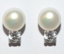 10mm Freshwater Pearl Sterling Silver Cubic Zirconia Stud Earrings Gift Box A4