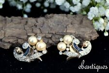 Vintage Signed Crown Trifari 1940s A. Philippe Princess Empress Eugenie Earrings