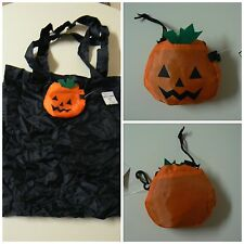 "Ganz REUSABLE TRICK OR TREAT BAG 15"" x 15"" Pumpkin Folds to 4""x 4"" With Clip"