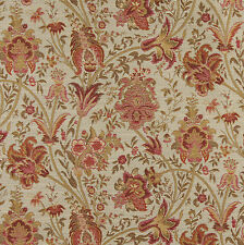 Tan and Coral and Cream Vintage Flower Pattern Tapestry Upholstery Fabric