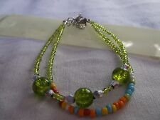 BRAND  NEW  FASHONABLE  GREEN GLASS SMALL AND MEDUIM BEADS BRACELET