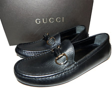 Gucci Black Leather Bamboo Driving Loafer Flat Moccasins Shoe 6.5 / 36.5 G