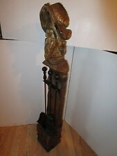"Vintage Conquistador Witco tiki Wood carved Sculpture 50"" fireplace stand & tool"