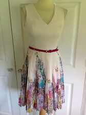 TED BAKER £125 TARREN WISPY MEADOW cream floral print dress Ted 1 UK 8 WORN ONCE